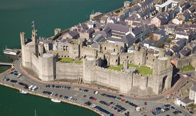Caernarfon Aerial North Castles Historic Sites