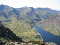 Looking down on Lyn Ogwen from Tryfan's north ridge