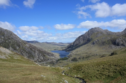Tryfan (centre) from the edge of the Ogwen Valley