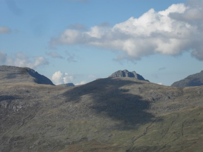 From Moel Siabod, Tryfan just pokes above the mountains