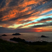 Sunset over the Irish Sea from Llanddwyn Island