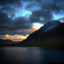 Sunset over Llyn Idwal and Tryfan