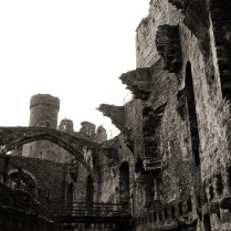 The remains of Conwy Castle's great hall