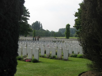 Rows of graves, like cornfields