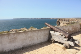 Old cannons mark line the walls